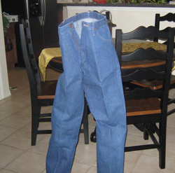 Heavily starched jeans
