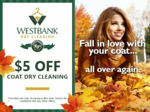 Westbank $5 off Coat Dry Cleaning Coupon